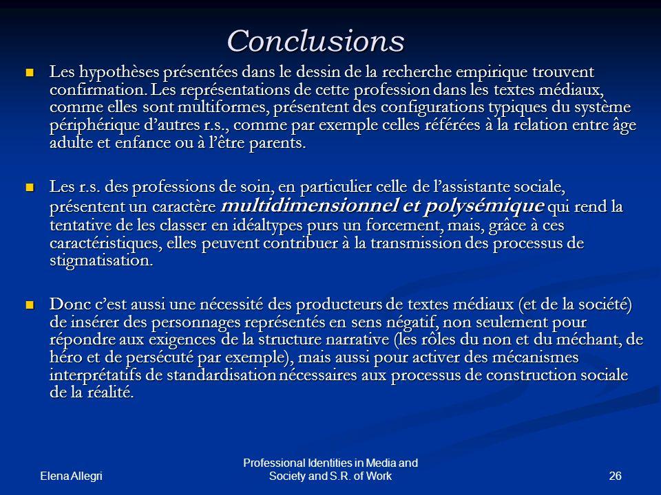 Elena Allegri 26 Professional Identities in Media and Society and S.R. of Work Conclusions Les hypothèses présentées dans le dessin de la recherche em