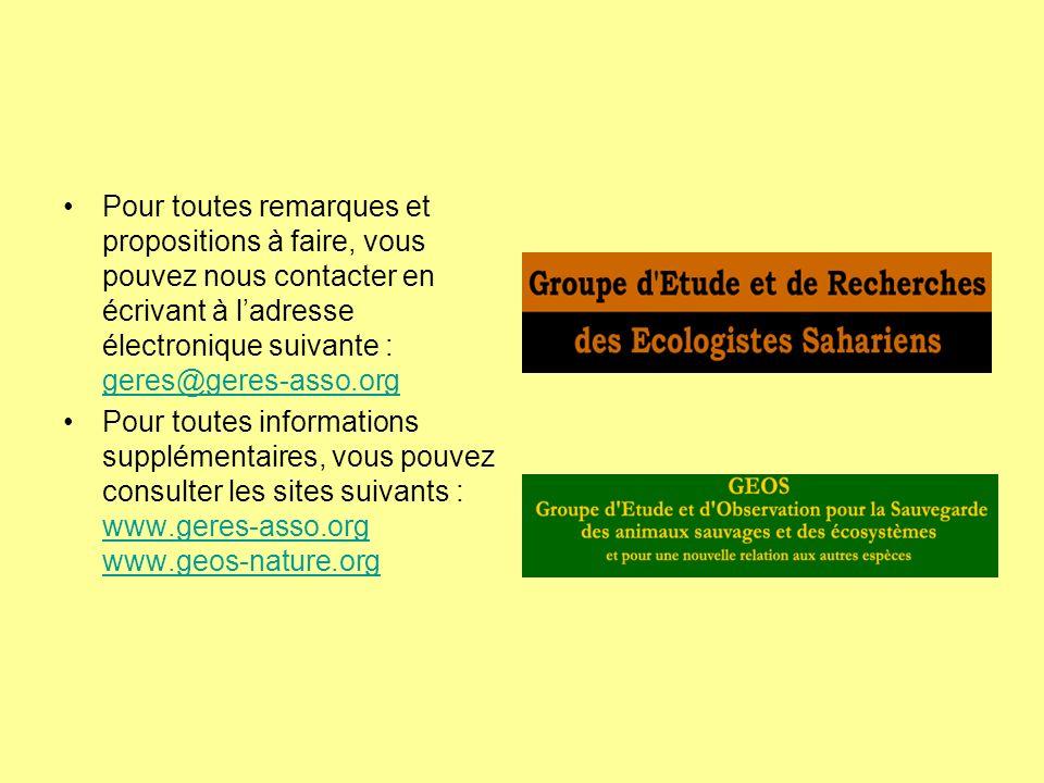 Pour toutes remarques et propositions à faire, vous pouvez nous contacter en écrivant à ladresse électronique suivante : geres@geres-asso.org geres@ge