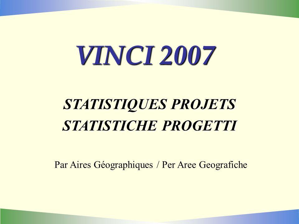 VINCI 2007 STATISTIQUES PROJETS STATISTICHE PROGETTI Par Aires Géographiques / Per Aree Geografiche