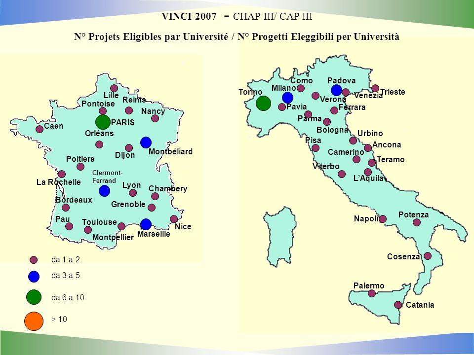 VINCI 2007 - CHAP III/ CAP III N° Projets Eligibles par Université / N° Progetti Eleggibili per Università da 1 a 2 da 3 a 5 da 6 a 10 > 10 Montbéliar