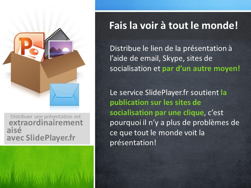 Distribue le lien de la présentation à laide de email, Skype, sites de socialisation et par dun autre moyen! Le service SlidePlayer.fr soutient la pub