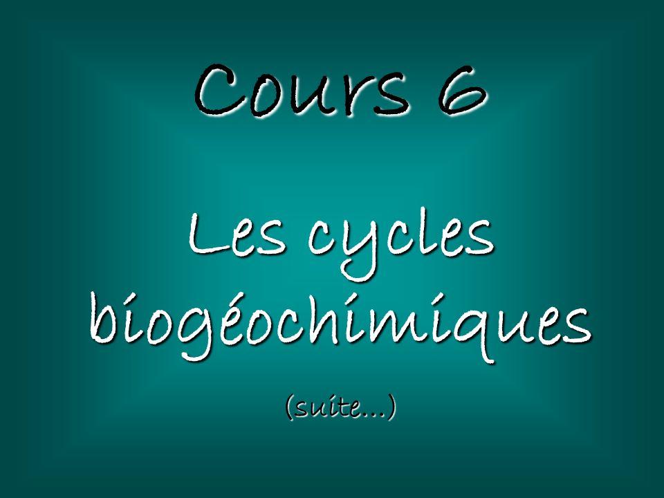 Cours 6 Les cycles biogéochimiques (suite…)