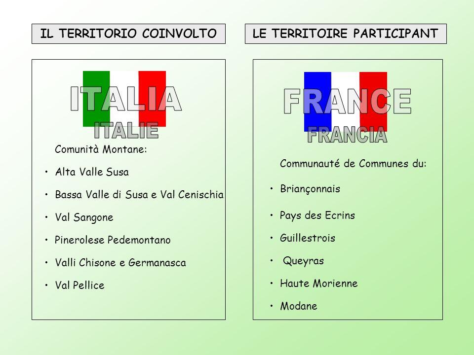 IL TERRITORIO COINVOLTO LE TERRITOIRE PARTICIPANT Comunità Montane: Alta Valle Susa Bassa Valle di Susa e Val Cenischia Val Sangone Pinerolese Pedemon