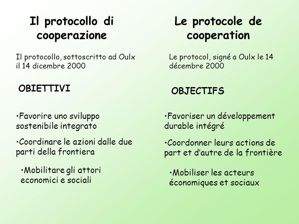 Il protocollo di cooperazione Le protocole de cooperation Il protocollo, sottoscritto ad Oulx il 14 dicembre 2000 Favorire uno sviluppo sostenibile in