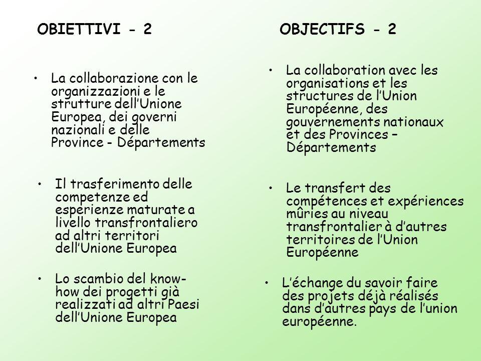 OBIETTIVI - 2 OBJECTIFS - 2 La collaboration avec les organisations et les structures de lUnion Européenne, des gouvernements nationaux et des Provinc