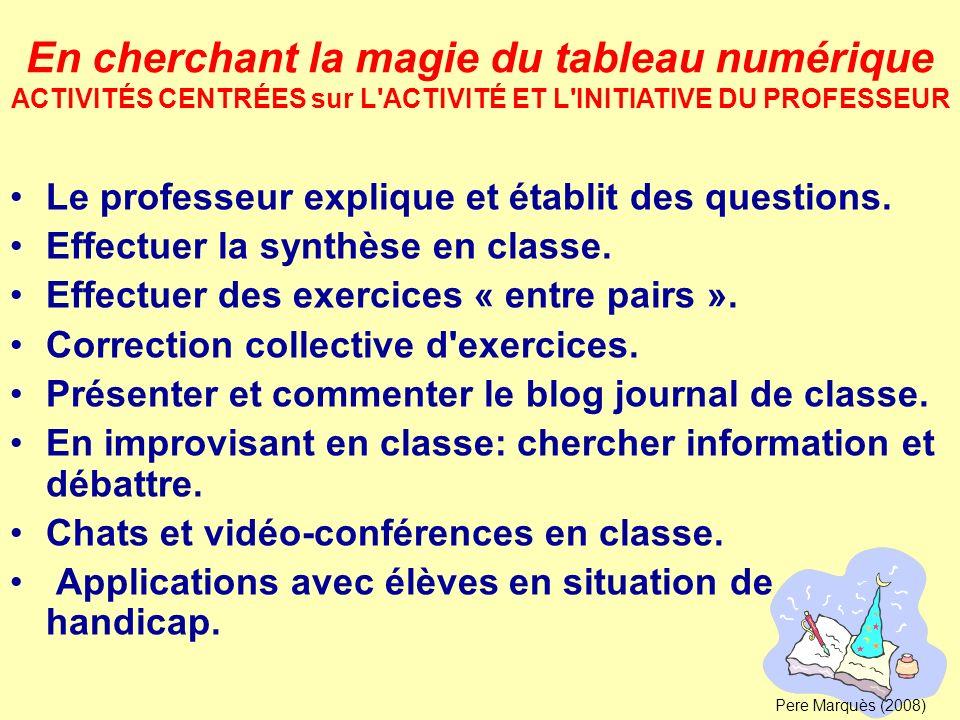 Le professeur explique et établit des questions. Effectuer la synthèse en classe. Effectuer des exercices « entre pairs ». Correction collective d'exe