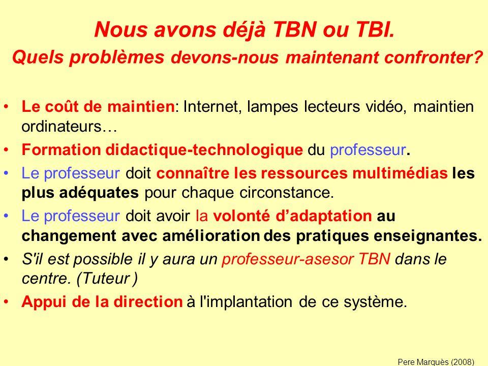 Nous avons déjà TBN ou TBI. Quels problèmes devons-nous maintenant confronter? Le coût de maintien: Internet, lampes lecteurs vidéo, maintien ordinate