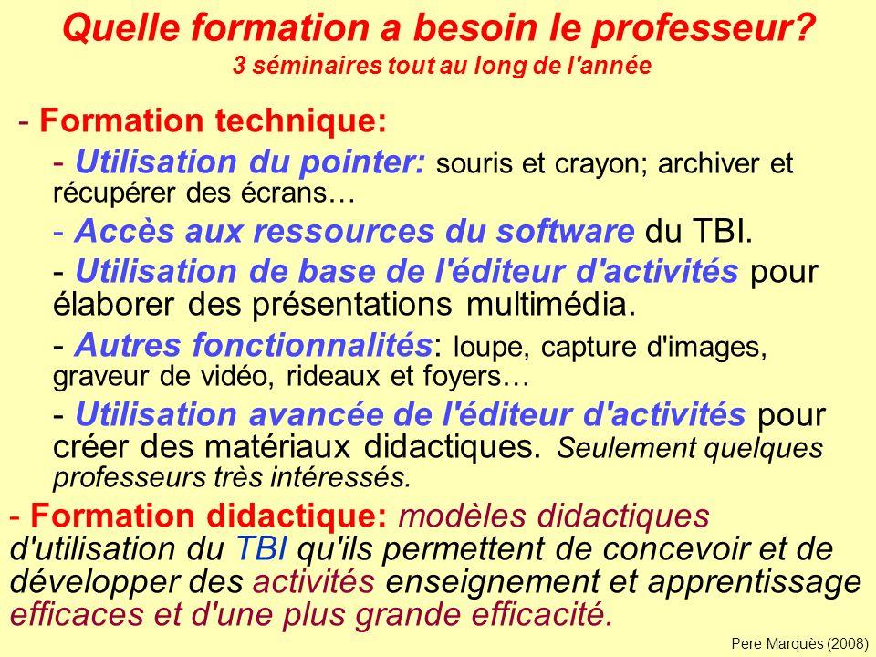 Quelle formation a besoin le professeur? 3 séminaires tout au long de l'année - Formation technique: - Utilisation du pointer: souris et crayon; archi