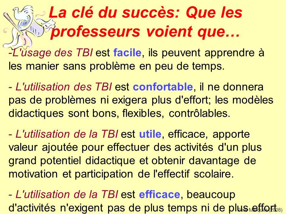 La clé du succès: Que les professeurs voient que… -L'usage des TBI est facile, ils peuvent apprendre à les manier sans problème en peu de temps. - L'u