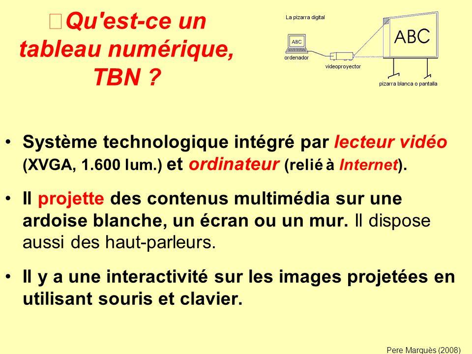Qu'est-ce un tableau numérique, TBN ? Système technologique intégré par lecteur vidéo (XVGA, 1.600 lum.) et ordinateur (relié à Internet). Il projette