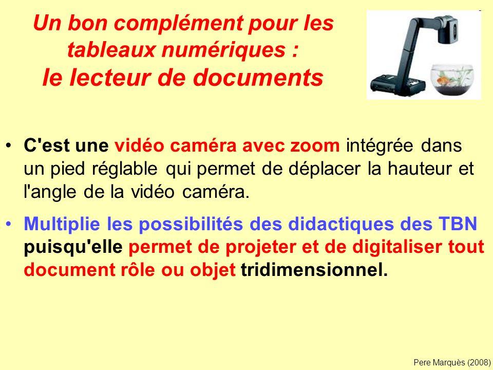 Un bon complément pour les tableaux numériques : le lecteur de documents C'est une vidéo caméra avec zoom intégrée dans un pied réglable qui permet de