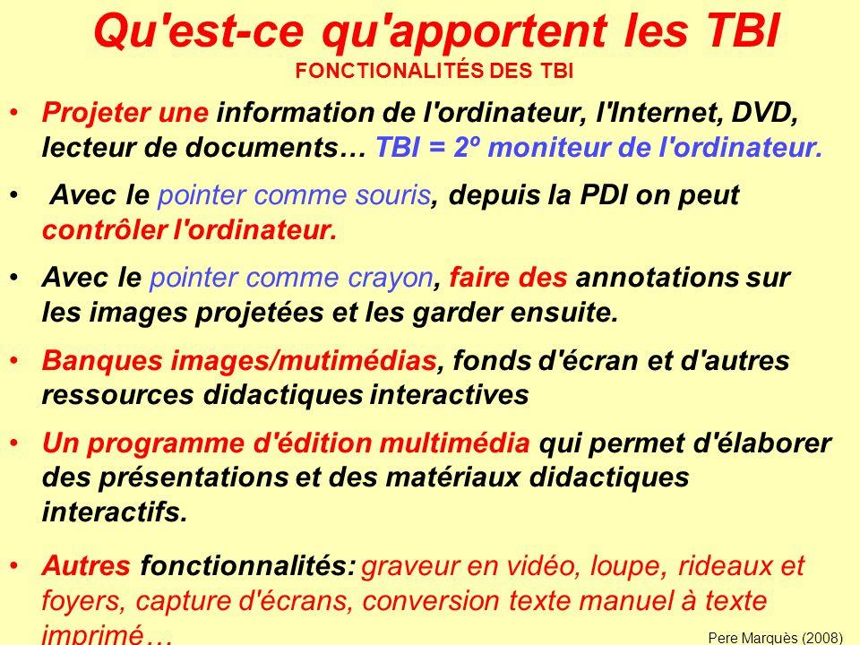 Qu'est-ce qu'apportent les TBI FONCTIONALITÉS DES TBI Projeter une information de l'ordinateur, l'Internet, DVD, lecteur de documents… TBI = 2º monite