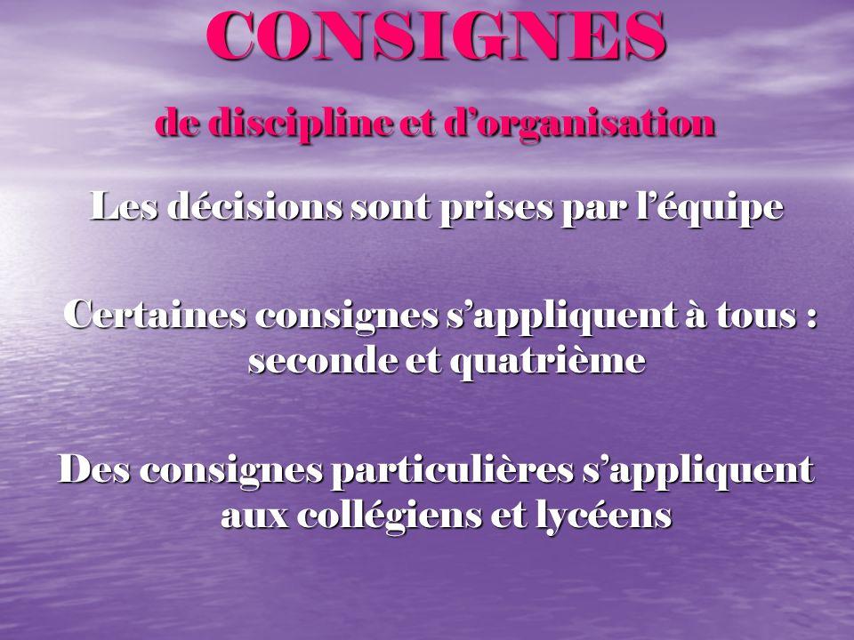CONSIGNES de discipline et dorganisation CONSIGNES de discipline et dorganisation Les décisions sont prises par léquipe Les décisions sont prises par