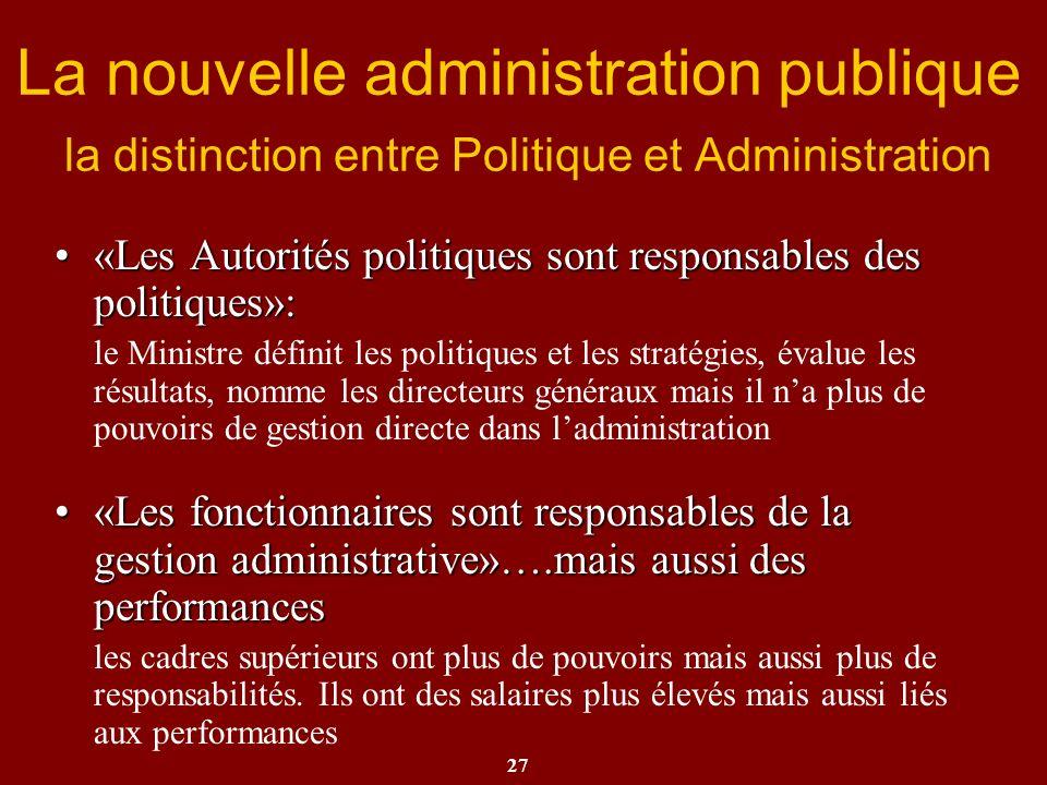 27 La nouvelle administration publique la distinction entre Politique et Administration «Les Autorités politiques sont responsables des politiques»:«L