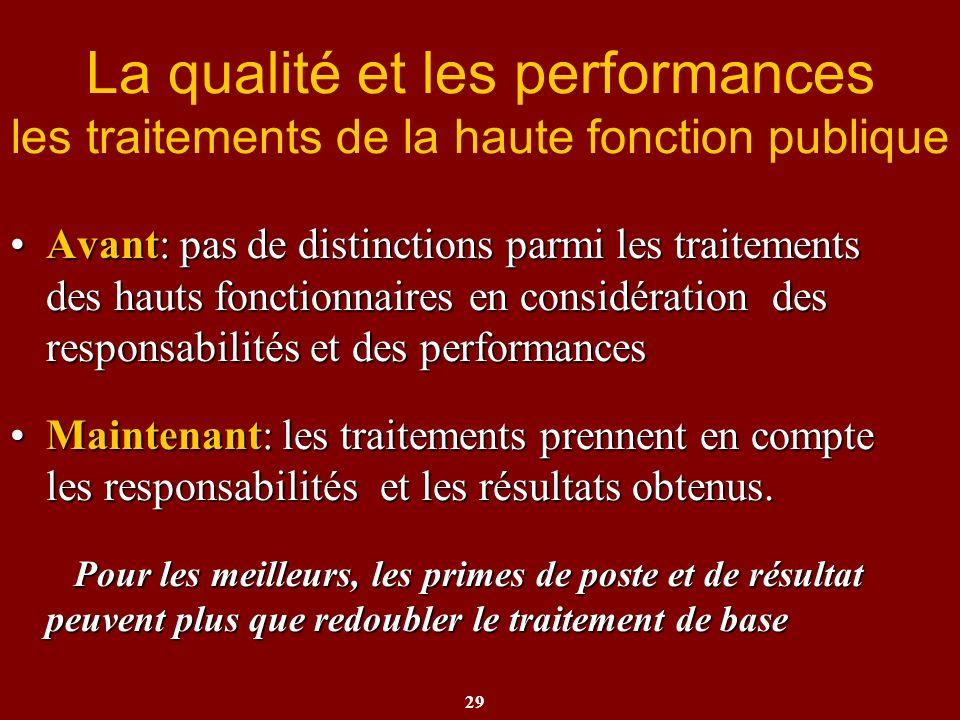 29 La qualité et les performances les traitements de la haute fonction publique Avant: pas de distinctions parmi les traitements des hauts fonctionnai
