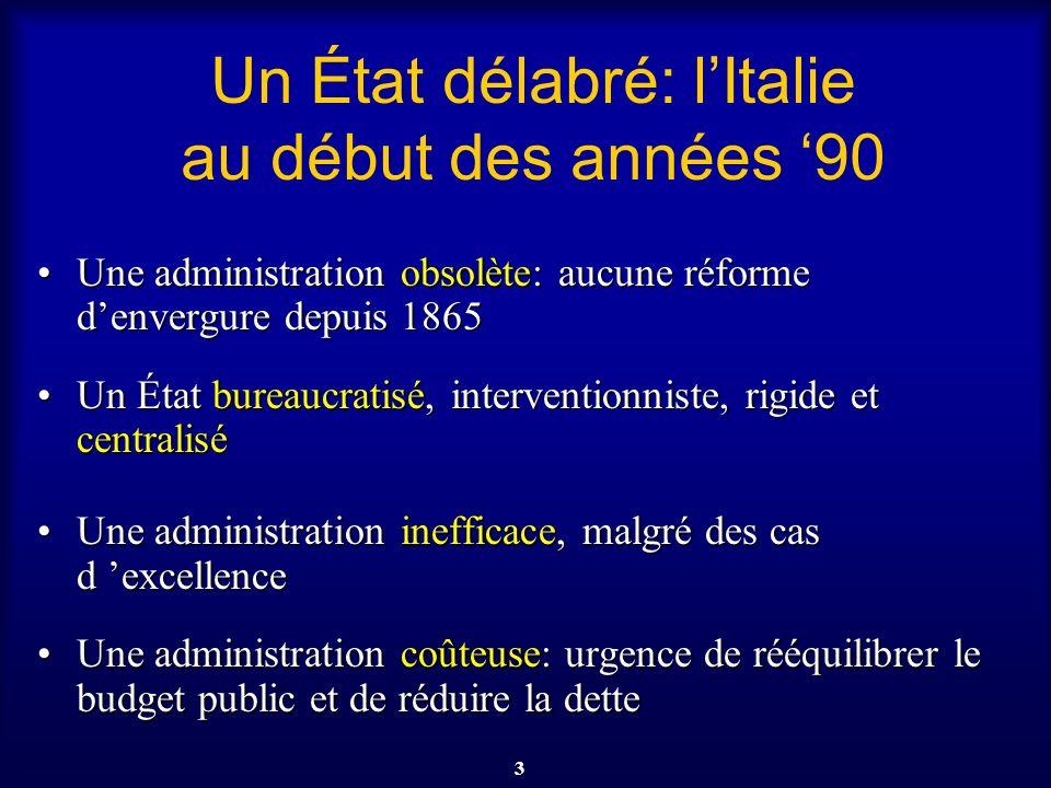 3 Un État délabré: lItalie au début des années 90 Une administration obsolète: aucune réforme denvergure depuis 1865Une administration obsolète: aucun