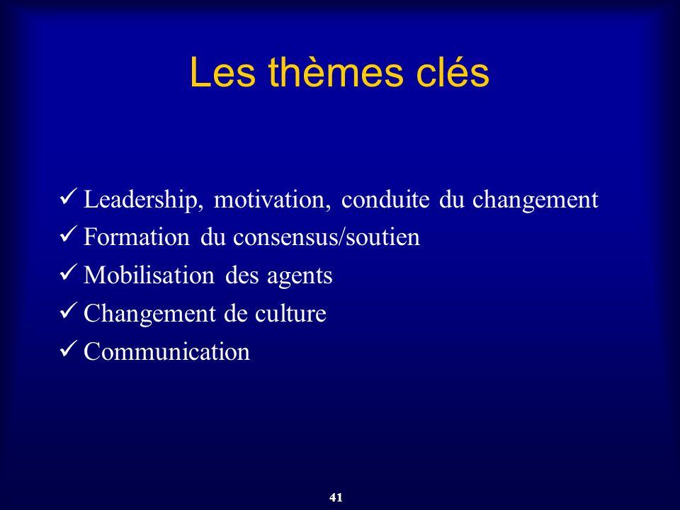 41 Les thèmes clés Leadership, motivation, conduite du changement Formation du consensus/soutien Mobilisation des agents Changement de culture Communi