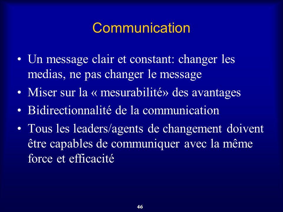 46 Communication Un message clair et constant: changer les medias, ne pas changer le message Miser sur la « mesurabilité» des avantages Bidirectionnal