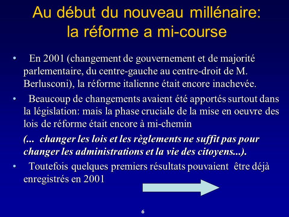 6 Au début du nouveau millénaire: la réforme a mi-course En 2001 (changement de gouvernement et de majorité parlementaire, du centre-gauche au centre-