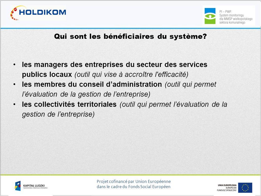 Projet cofinancé par Union Européenne dans le cadre du Fonds Social Européen Qui sont les bénéficiaires du système? les managers des entreprises du se
