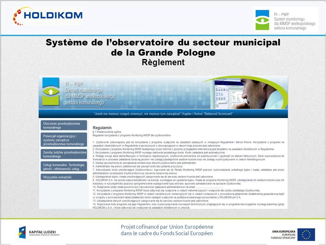 Projet cofinancé par Union Européenne dans le cadre du Fonds Social Européen Système de lobservatoire du secteur municipal de la Grande Pologne Règlem