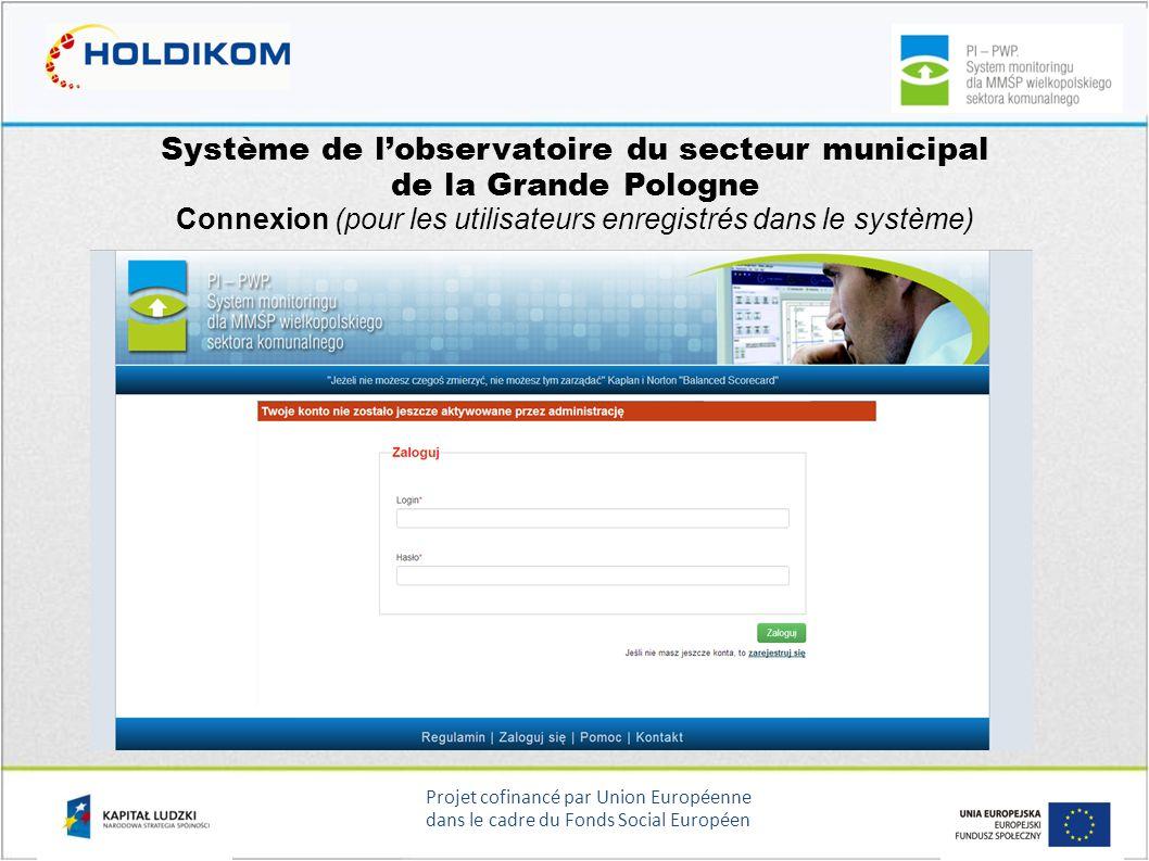 Projet cofinancé par Union Européenne dans le cadre du Fonds Social Européen Système de lobservatoire du secteur municipal de la Grande Pologne Connex