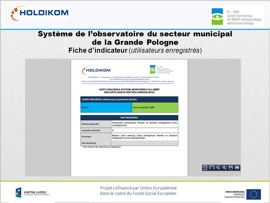 Projet cofinancé par Union Européenne dans le cadre du Fonds Social Européen Système de lobservatoire du secteur municipal de la Grande Pologne Fiche