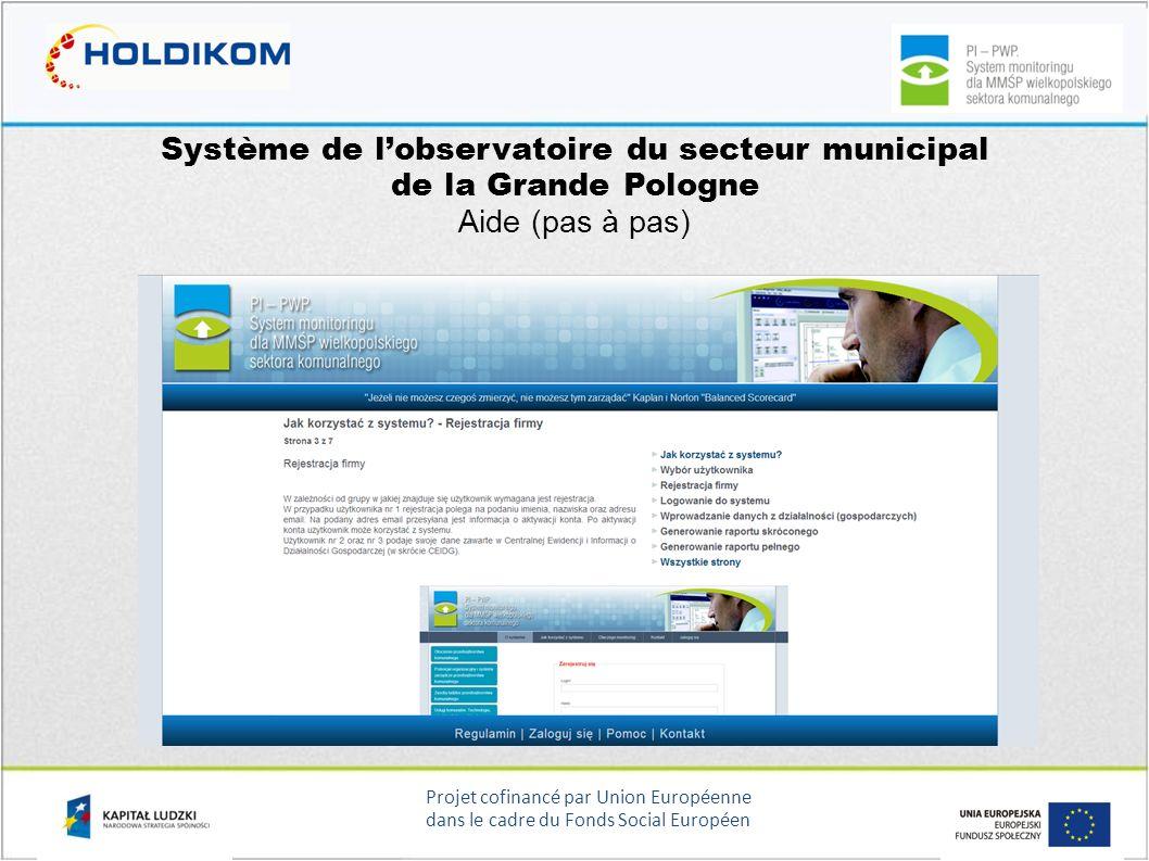 Projet cofinancé par Union Européenne dans le cadre du Fonds Social Européen Système de lobservatoire du secteur municipal de la Grande Pologne Aide (