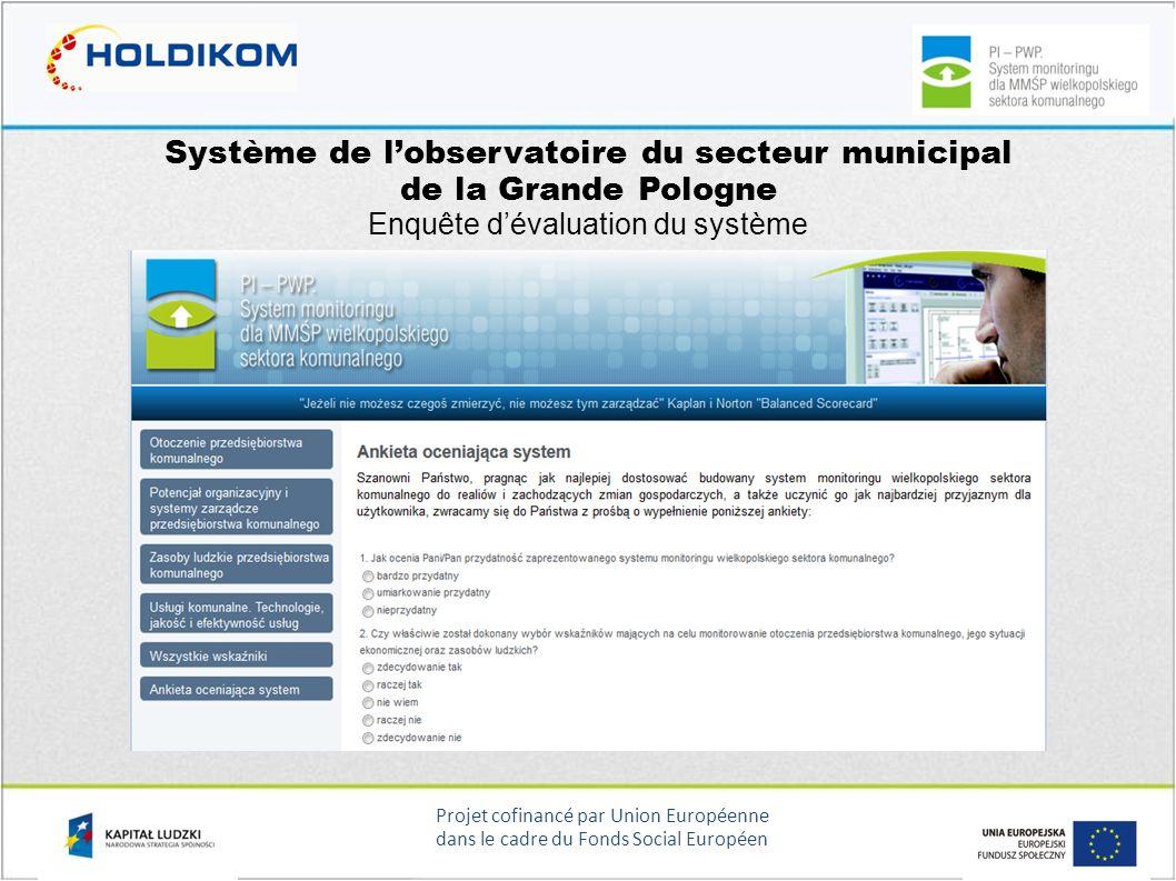 Projet cofinancé par Union Européenne dans le cadre du Fonds Social Européen Système de lobservatoire du secteur municipal de la Grande Pologne Enquêt
