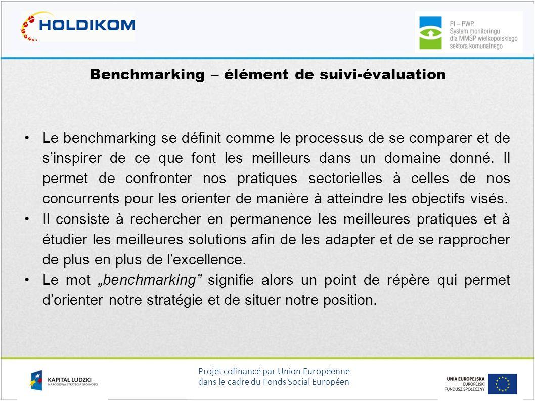 Projet cofinancé par Union Européenne dans le cadre du Fonds Social Européen Benchmarking – élément de suivi-évaluation Le benchmarking se définit com
