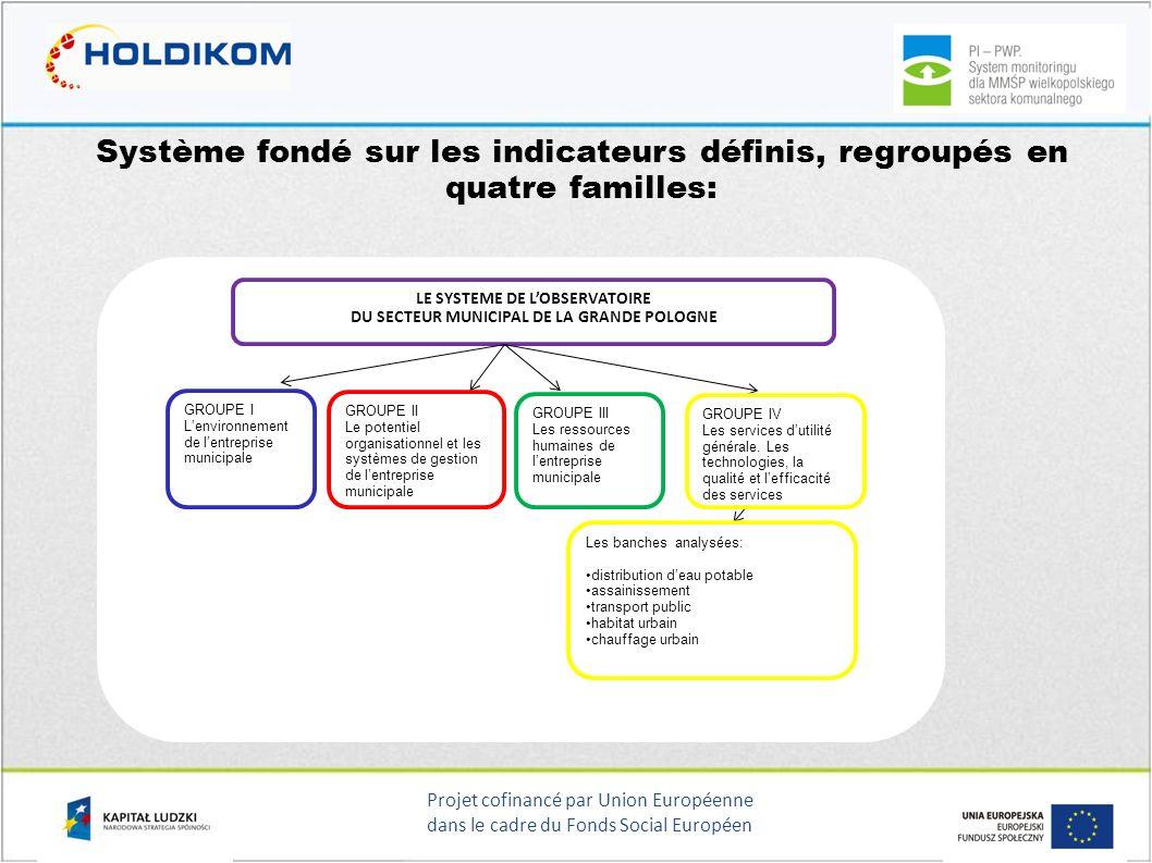Projet cofinancé par Union Européenne dans le cadre du Fonds Social Européen Système fondé sur les indicateurs définis, regroupés en quatre familles: