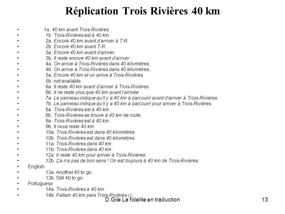 D.Gile La fidelite en traduction13 Réplication Trois Rivières 40 km 1a. 40 km avant Trois-Rivières. 1b. Trois-Rivières est à 40 km. 2a. Encore 40 km a