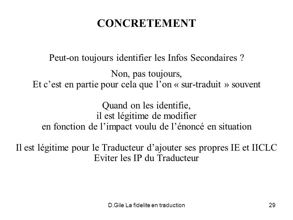 D.Gile La fidelite en traduction29 CONCRETEMENT Peut-on toujours identifier les Infos Secondaires ? Non, pas toujours, Et cest en partie pour cela que
