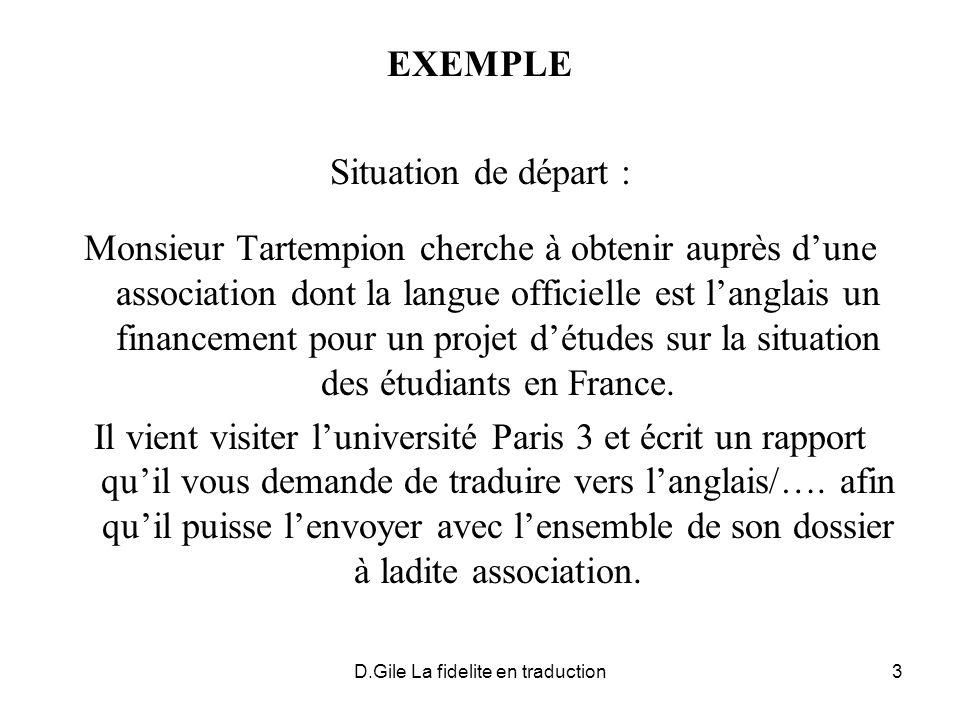 D.Gile La fidelite en traduction3 EXEMPLE Situation de départ : Monsieur Tartempion cherche à obtenir auprès dune association dont la langue officiell