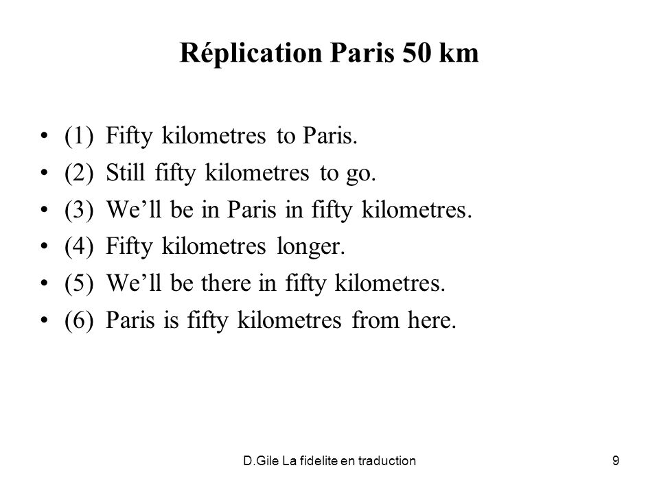 D.Gile La fidelite en traduction9 Réplication Paris 50 km (1)Fifty kilometres to Paris. (2)Still fifty kilometres to go. (3)Well be in Paris in fifty