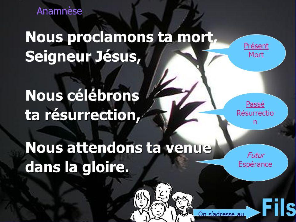 Anamnèse Nous proclamons ta mort, Seigneur Jésus, Nous célébrons ta résurrection, Nous attendons ta venue dans la gloire. On sadresse au Présent Mort