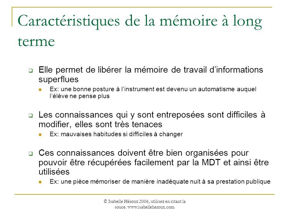© Isabelle Héroux 2006, utilisez en citant la souce. www.isabelleheroux.com Caractéristiques de la mémoire à long terme Elle permet de libérer la mémo