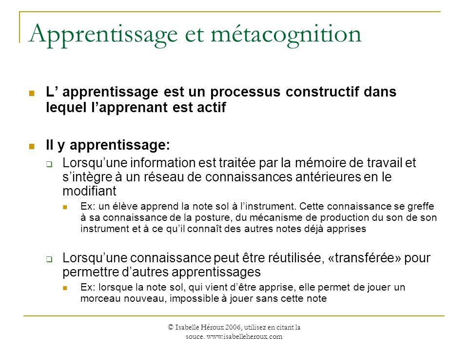 © Isabelle Héroux 2006, utilisez en citant la souce. www.isabelleheroux.com Apprentissage et métacognition L apprentissage est un processus constructi