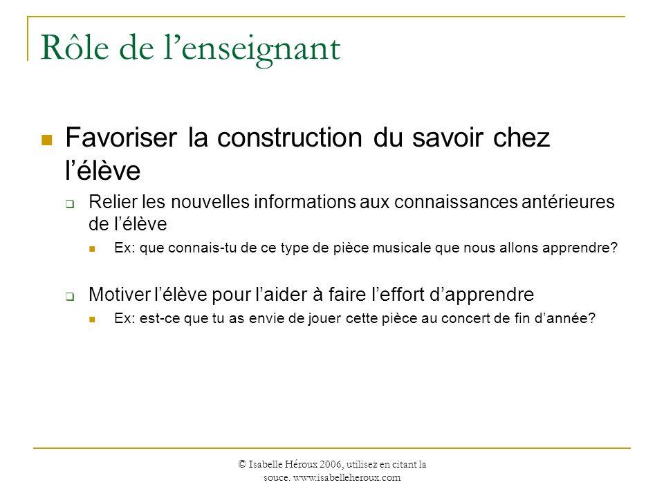 © Isabelle Héroux 2006, utilisez en citant la souce. www.isabelleheroux.com Rôle de lenseignant Favoriser la construction du savoir chez lélève Relier