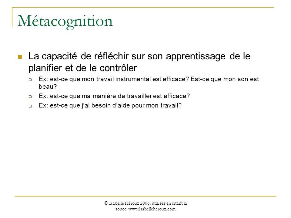 © Isabelle Héroux 2006, utilisez en citant la souce. www.isabelleheroux.com Métacognition La capacité de réfléchir sur son apprentissage de le planifi