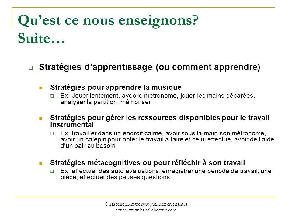 © Isabelle Héroux 2006, utilisez en citant la souce. www.isabelleheroux.com Quest ce nous enseignons? Suite… Stratégies dapprentissage (ou comment app