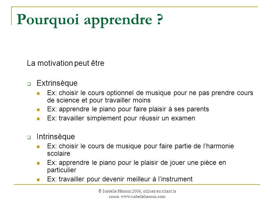 © Isabelle Héroux 2006, utilisez en citant la souce. www.isabelleheroux.com Pourquoi apprendre ? La motivation peut être Extrinsèque Ex: choisir le co