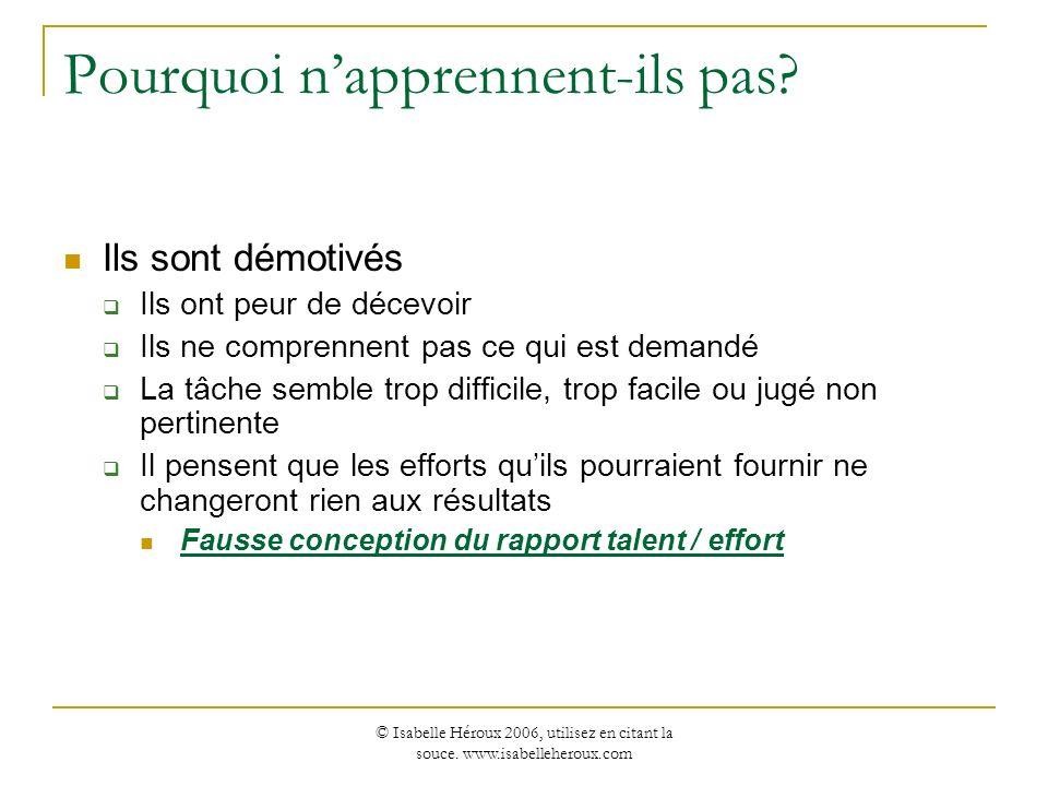 © Isabelle Héroux 2006, utilisez en citant la souce. www.isabelleheroux.com Pourquoi napprennent-ils pas? Ils sont démotivés Ils ont peur de décevoir