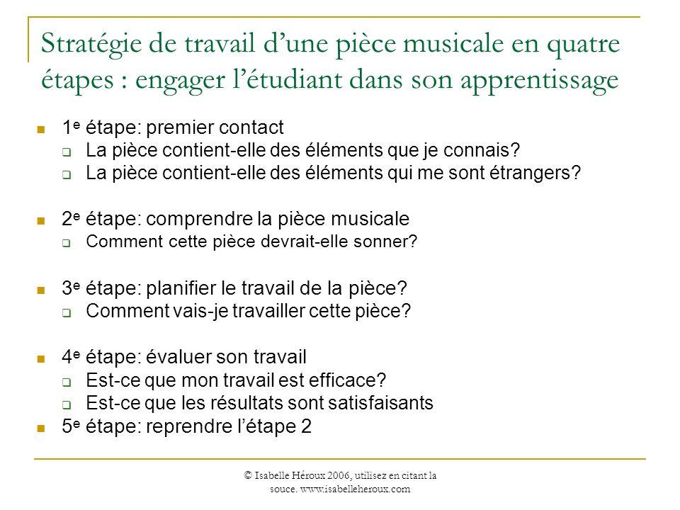 © Isabelle Héroux 2006, utilisez en citant la souce. www.isabelleheroux.com Stratégie de travail dune pièce musicale en quatre étapes : engager létudi