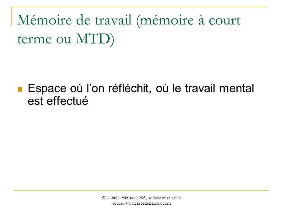 © Isabelle Héroux 2006, utilisez en citant la souce. www.isabelleheroux.com Mémoire de travail (mémoire à court terme ou MTD) Espace où lon réfléchit,