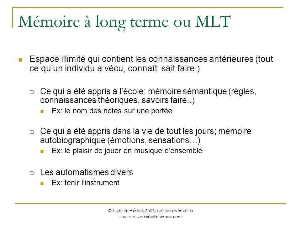 © Isabelle Héroux 2006, utilisez en citant la souce. www.isabelleheroux.com Mémoire à long terme ou MLT Espace illimité qui contient les connaissances