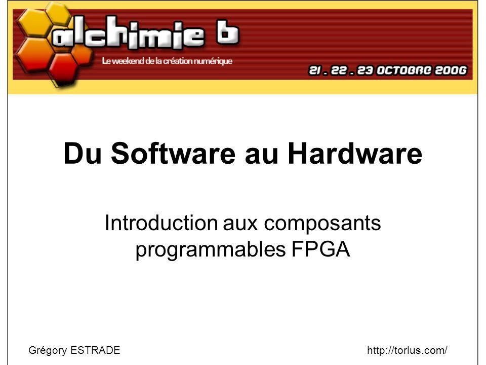 Introduction aux FPGA – Conception Projets avancés http://www.opencores.org/ –CPU Cores : T65, T80, 6809, 8051… –Contrôleurs Ethernet, USB, LCD, SPI, I²C… Emulation de machines anciennes –http://zxgate.sourceforge.net/ (ZX81, ZX Spectrum, Jupiter ACE, TRS80)http://zxgate.sourceforge.net/ –http://www.fpgaarcade.com/ (Hardware arcade, VIC-20)http://www.fpgaarcade.com/ –Minimig (Amiga 500 sur base 68k + FPGA) –http://www.experiment-s.de/ (Atari STE)http://www.experiment-s.de/