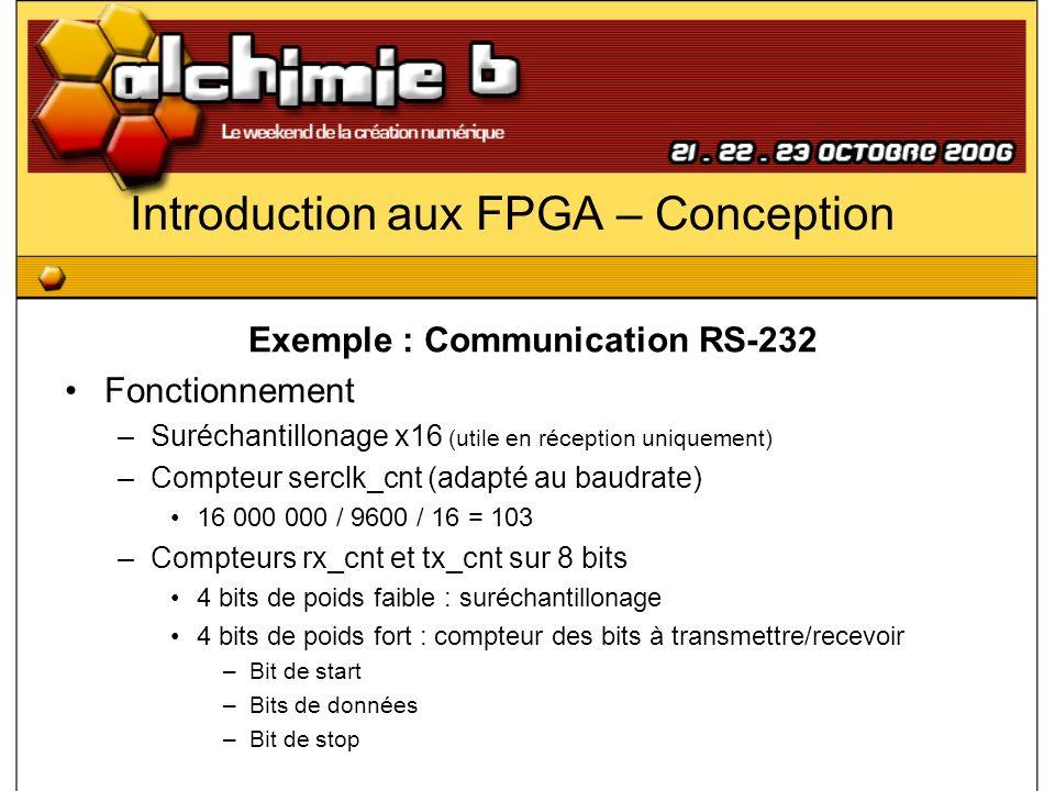 Introduction aux FPGA – Conception Exemple : Communication RS-232 Fonctionnement –Suréchantillonage x16 (utile en réception uniquement) –Compteur serc