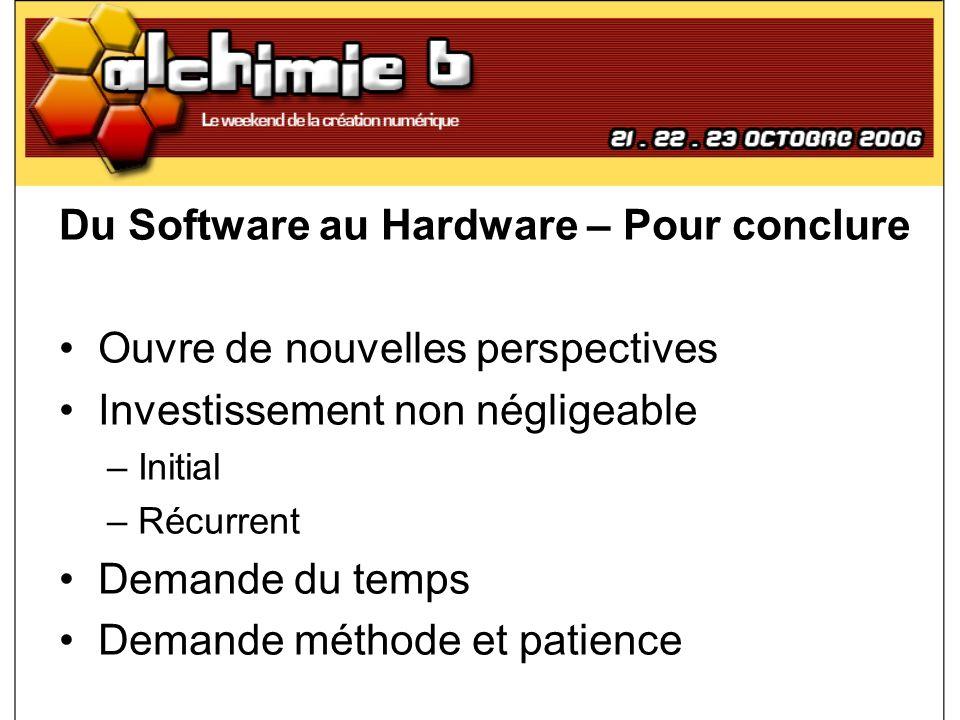 Du Software au Hardware – Pour conclure Ouvre de nouvelles perspectives Investissement non négligeable – Initial – Récurrent Demande du temps Demande
