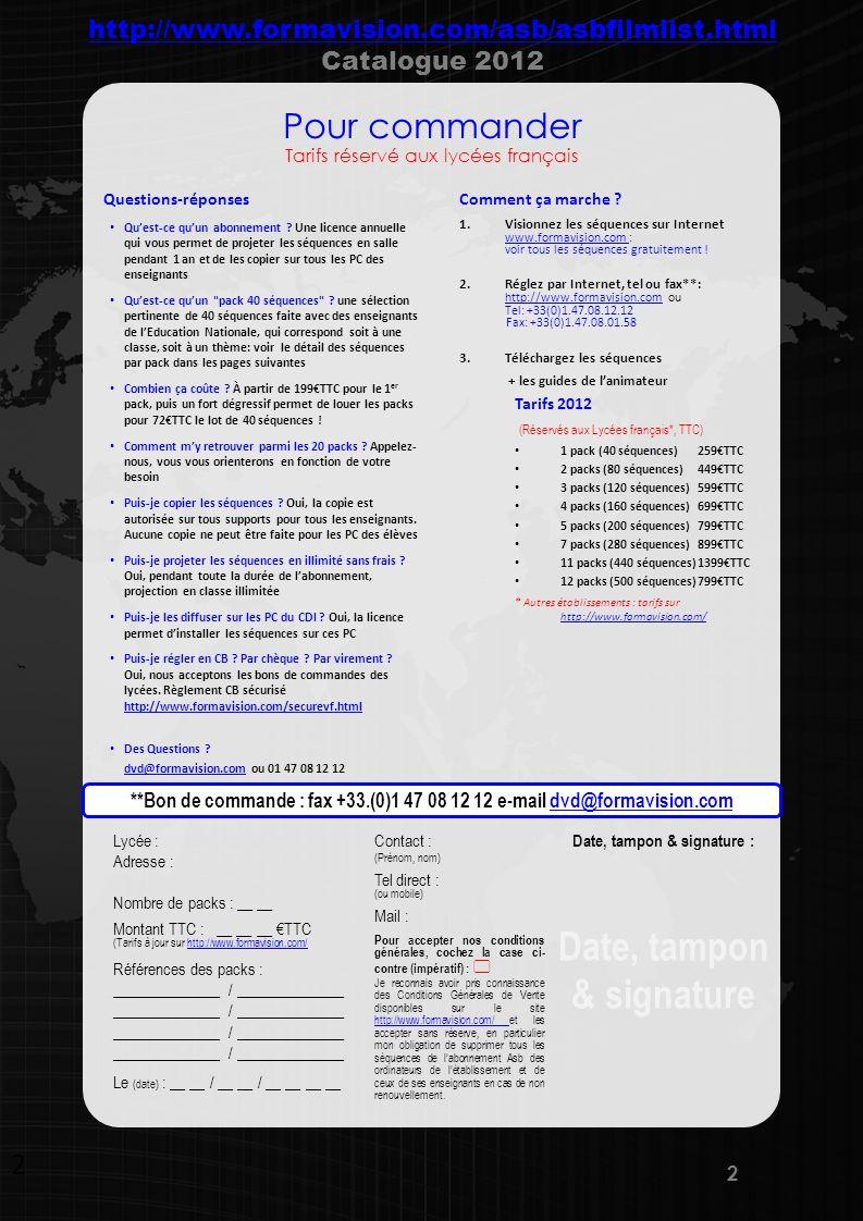 www.formavision.com Code : K2010.10 Pack Tous niveaux – 280 séquences = les 9 packs K2010 K2010.01 - CAP- BAC Pro 3 ans – 40 séquences K2010.02 - BAC PRO VENTE – 40séquences K2010.03 - BAC STG – 40 séquences K2010.04 - BTS MUC – 40 séquences K2010.05 - BTS NRC – 40 séquences K2010.06 - BTS CI – 40séquences K2010.07 - BTS AM – 40 séquences K2010.08 - BTS AG PME-PMI – 40 séquences K2010.09 - ENGLISH CECRL– 40 séquences Code : K2010.01 CAP-BAC Pro 3 ans Recrutement FR10.05 Itw : comment se présenter FR10.08 Itw : conseils (candidat) FR10.10 Se présenter modèle FR10.11 Prendre congé modèle FR10.42 Répondre aux questions classiques FR10.43 Répondre aux questions non préparées FR10.44 Aborder points difficiles Management FR17.03 Contrôler Erreur FR17.08 Recadrer Erreur FR18.05 Motiver Erreur Accueillir en face à face FR11.06 Itw : les erreurs à éviter FR11.07 Itw : les conseils pour réussir FR11.09 Gérer les priorités face a face (-) FR11.10 Gérer les priorités face a face (+) FR15.05.01 Assertivité & AT Modèle FR15.05.02 Erreur Fuite 1 FR15.05.05 Erreur Agressivité 1 FR15.05.07 Erreur Manipulation 1 Accueillir au téléphone + Version anglaise FR12.04 Itw : tel vs face à face FR12.06 Réclamation Erreur EN12.06 Complaints error FR12.07 Réclamation Modèle EN12.07 Complaints model FR12.10 Assistance au téléphone erreur FR12.11 Assistance au téléphone Modèle FR12.12 Réclamation erreur Animer une réunion FR13.05 Itw : les erreurs à éviter FR13.06 Itw : les conseils pour réussir Vendre en magasin FR05.01 Vente Hifi Erreur FR05.02 Test Connaître SONCAS FR05.03 Test Convaincre Erreur FR05.04 Test Convaincre Modèle FR05.05 Vente Hifi Modèle Prospecter au téléphone FR07.03 Itw : le premier contact au tel Service client FR25.03 Esprit déquipe FR25.04 Service au tel erreur1 FR25.05 Service au tel erreur2 FR25.07 Service au tel modèle1 FR25.08 Service au tel modèle2 Diversité et discrimination FR21.22 enjeux diversité Code : K2010.02 BAC PRO VENTE – 40 séquences Recrutement FR10.01.02 